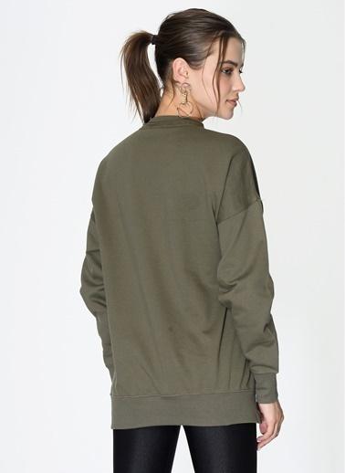 Loves You Loose Fit Basic Sweatshirt Haki